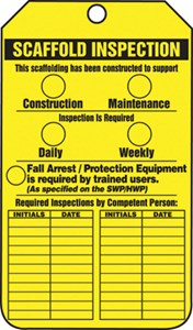 Scaffold Inspection Yellow Tag CardStock