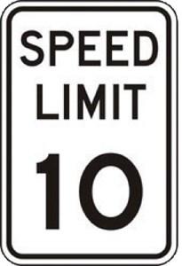 Sign 18x12 Aluminum SPEED LIMIT 10