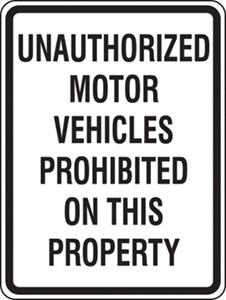 Sign 24x18 UNAUTHORIZED VEHICLES