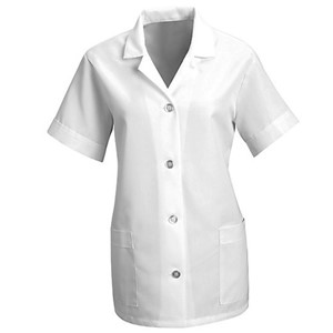 Women's Loose Smock with Short Sleeves in White
