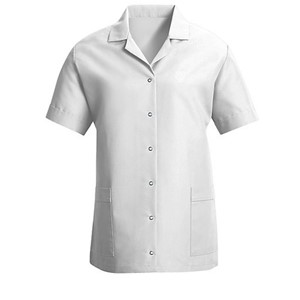 Women's Gripper Front Smock in White