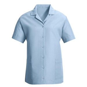 Women's Gripper Front Smock in Light Blue