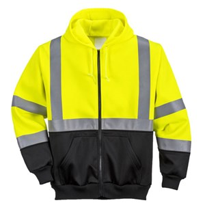 Hi-Vis Two Tone Zipped Hooded Sweatshirt