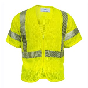 Hi-Vis Flame Resistant Mesh Safety Vest, Class 3, Zipper Closure