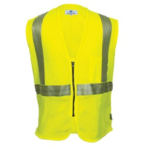 Hi-Vis Flame Resistant Mesh Safety Vest, Class 2, Zipper Closure