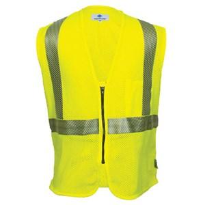 Hi-Vis Flame Resistant Mesh Safety Vest, Class 2, Zipper Closure