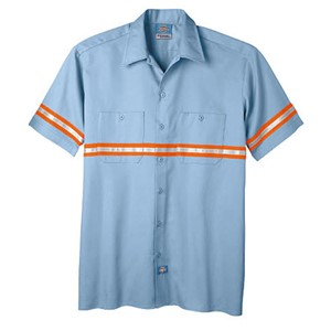 Reflective Stripe Work Shirt - Short Sleeve