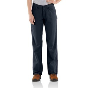Women's Carhartt FR Canvas Work Pant in Navy