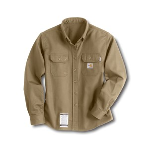 Womens Flame-Resistant Twill Shirt in Khaki