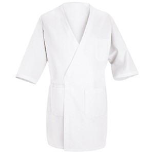 Deluxe Polyester/Cotton Collarless Butcher Wrap with Pockets