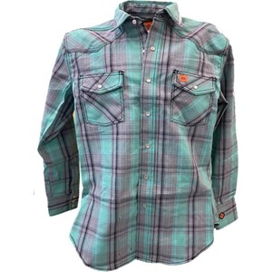 Wrangler FR Button Down Top in Green Plaid