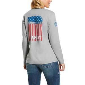 Ariat Women's FR Americana Graphic Crew in Silver Fox