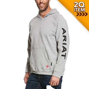Ariat FR Primo Fleece Logo Hoodie in Heather Grey