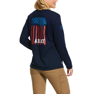 Ariat Women's FR Americana Graphic Crew in Navy