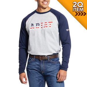 Ariat FR Baseball Tee in Navy USA - 2X ONLY