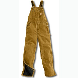 Quilt-Lined Sandstone Bib Overall in Carhartt Brown