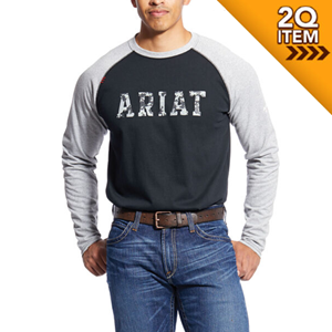 Ariat FR Baseball Tee in Grey Camo - SM ONLY