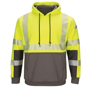 Hi-Visibility Color Block Pullover Fleece Sweatshirt with Waffle Lining